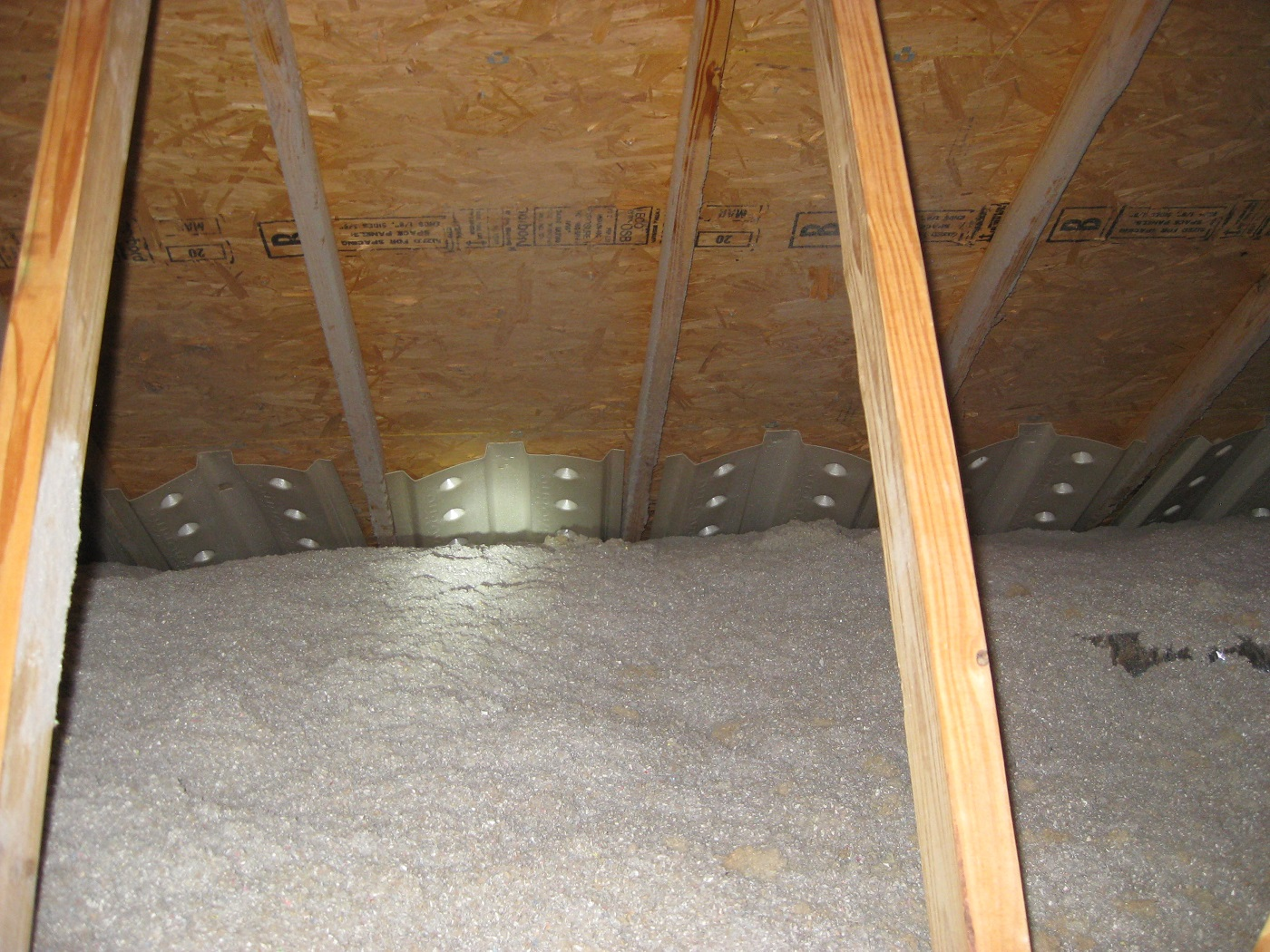 Nice installation of blown cellulose in the attic